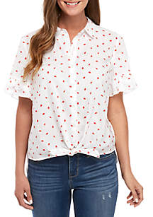 Crown & Ivy™ Short Sleeve Printed Button Up Shirt