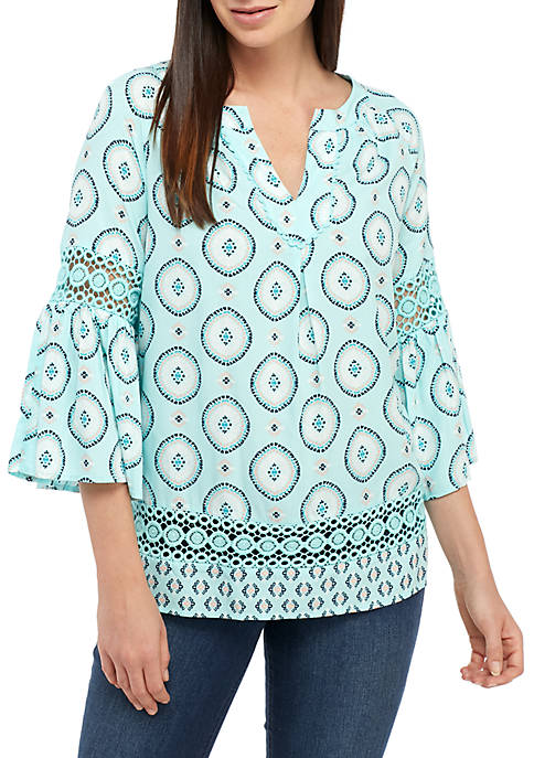 Crown & Ivy™ 3/4 Flare Sleeve Printed Peasant