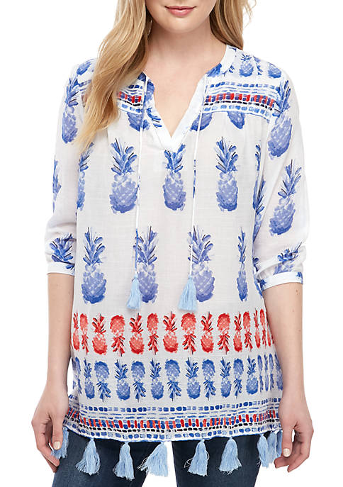 Crown & Ivy™ Tassel Printed Tunic