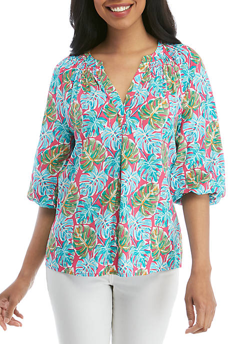 Crown & Ivy™ 3/4 Sleeve Printed Peasant Top