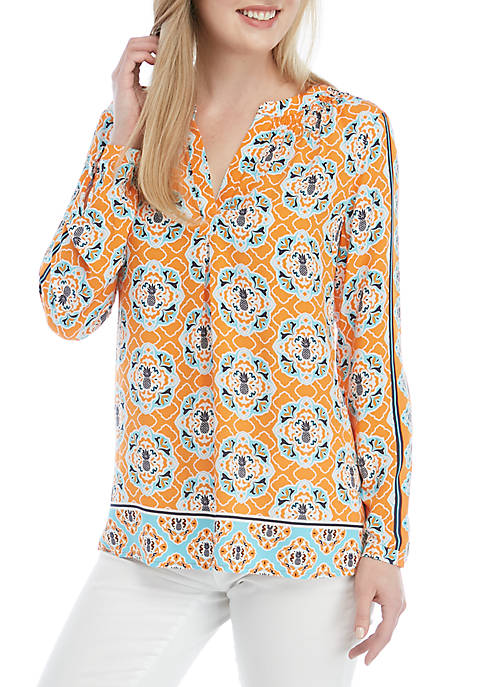 Crown & Ivy™ 3/4 Sleeve Tunic Peasant Top