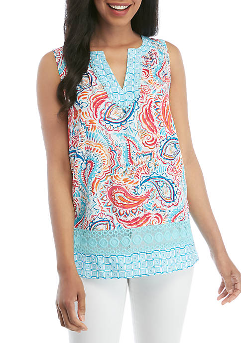 Crown & Ivy™ Printed Split Neck Top