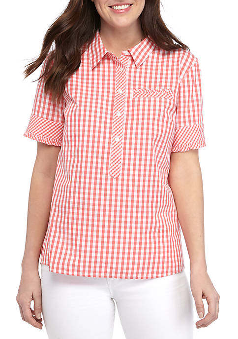 Womens Short Sleeve Camp Shirt