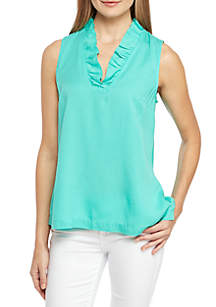 Crown & Ivy™ Solid Ruffle Neck Top