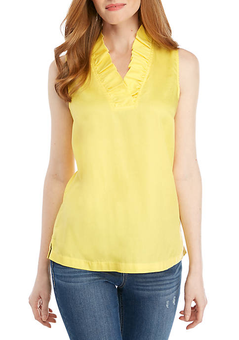 Solid Ruffle Neck Top