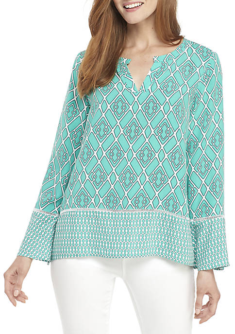 Crown & Ivy™ Long Flare Sleeve Peasant Print