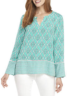 ... Crown   Ivy™ Long Flare Sleeve Peasant Print Top 4f47e67128033