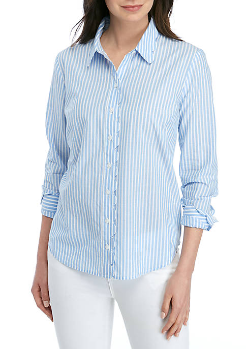 Long Sleeve Button Down Scallop Top