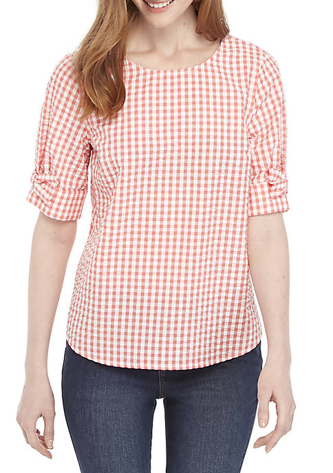 Crown & Ivy™ Short Bow Sleeve Top