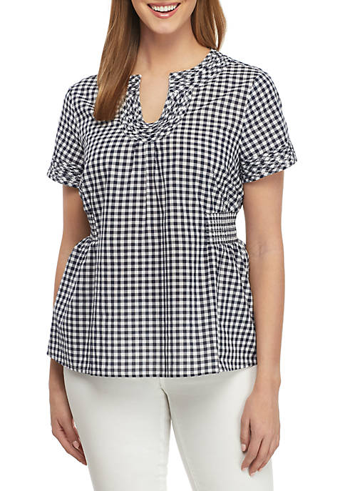 Crown & Ivy™ Short Sleeve Trim Neck Gingham