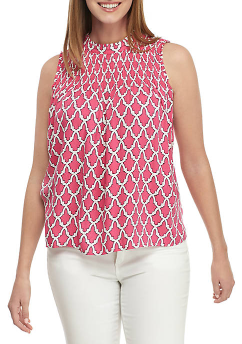 Crown & Ivy™ Sleeveless Smocked Neck Print Top