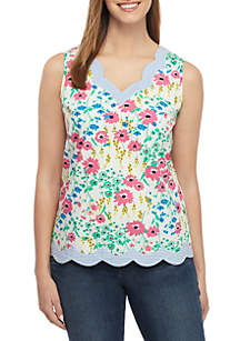 02b32c5f7743 ... Crown   Ivy™ Scallop Floral Sleeveless Top