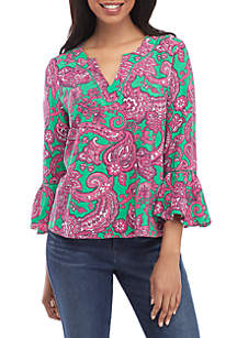 8453732d1b08 Ruby Rd Must Haves Solid Woven Shirt · Crown   Ivy™ 3 4 Sleeve Embroidered  Neck Top