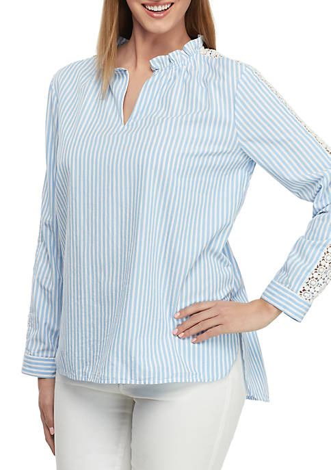 Long Sleeve Lace Ruffle Neck Top