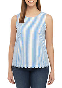 Crown & Ivy™ Sleeveless Scallop Trim Button Back Top