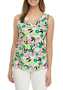 Crown & Ivy™ Scallop Floral Sleeveless Top