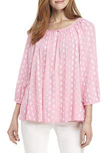 5bc679a7b678a Vince Camuto Short Sleeve Embroidered Lace Blouse · Crown   Ivy™ 3 4 Sleeve  Button Peasant Top