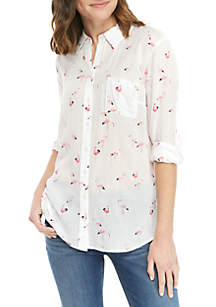 Crown & Ivy™ Long Sleeve Button Up Printed Top
