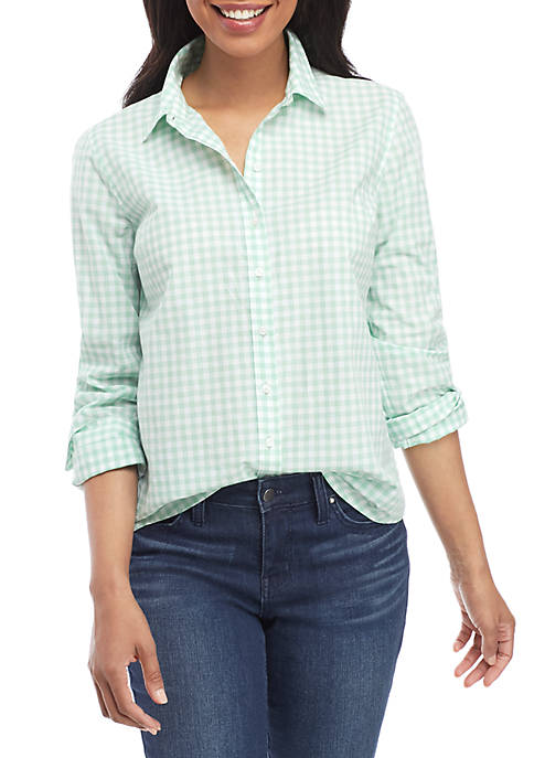 Long Sleeve Gingham Button Up Top