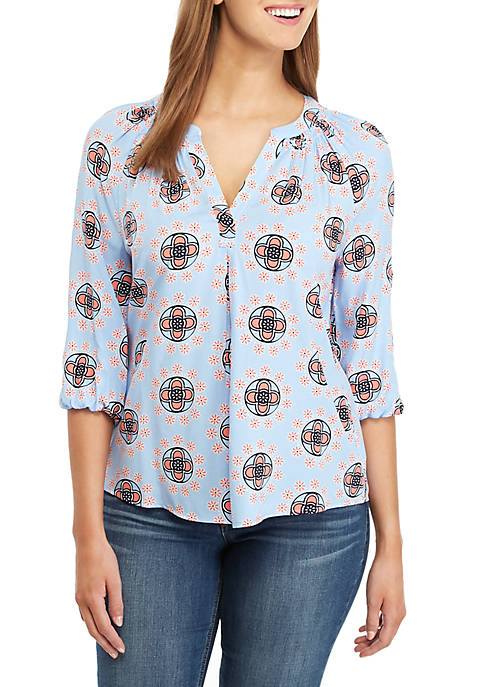 Crown & Ivy™ 3/4 Sleeve Medallion Print Peasant