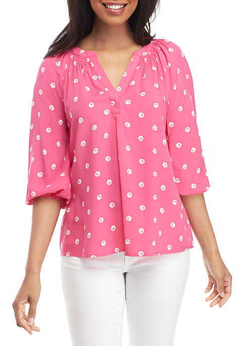 Crown & Ivy™ 3/4 Sleeve Print Peasant Top