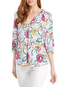 ac99177a51021 Crown   Ivy™. Crown   Ivy™ 3 4 Sleeve Print Peasant Top