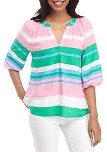 5b17d2993ad ... Crown   Ivy™ 3 4 Sleeve Stripe Peasant Top