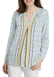 Crown & Ivy™ Long Sleeve Print Tunic Peasant Top