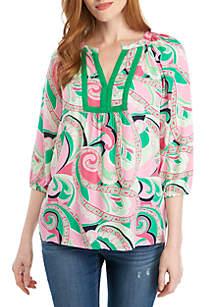 Crown & Ivy™ 3/4 Sleeve Keyhole Print Peasant Top