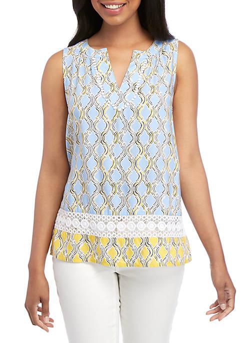 Crown & Ivy™ Sleeveless Crochet Peasant Printed Top