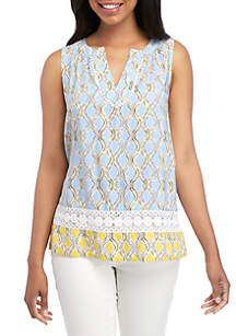 c5f5eb30f0e24 ... Crown   Ivy™ Sleeveless Crochet Peasant Printed Top