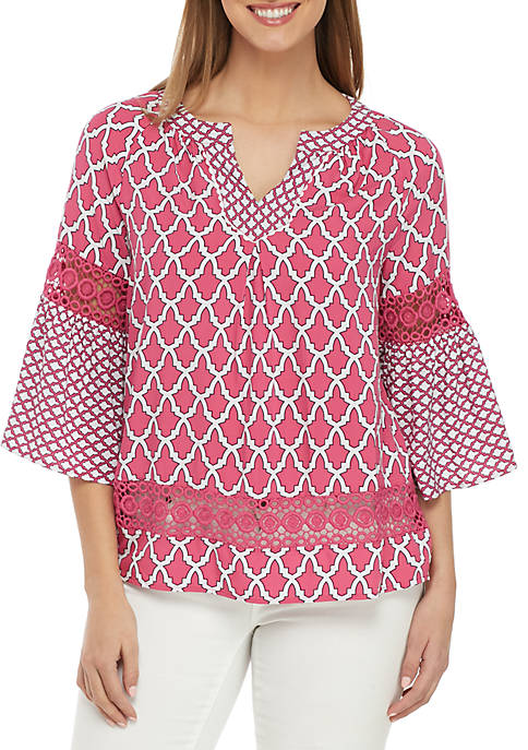 Crown & Ivy™ 3/4 Bell Sleeve Printed Peasant