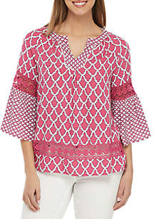 Crown & Ivy™ 3/4 Bell Sleeve Printed Peasant Top