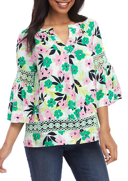 Crown & Ivy™ Bell Sleeve Floral Peasant Top