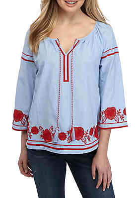 2c52e2d630d Crown   Ivy™ 3 4 Sleeve Embroidered Peasant ...