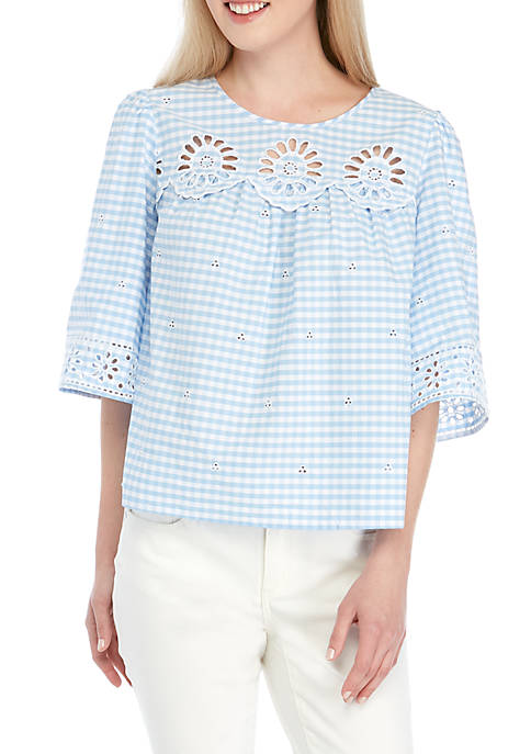 Crown & Ivy™ Woven Gingham Top