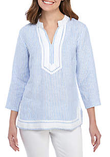 Crown & Ivy™ 3/4 Sleeve Stripe Kurta Top