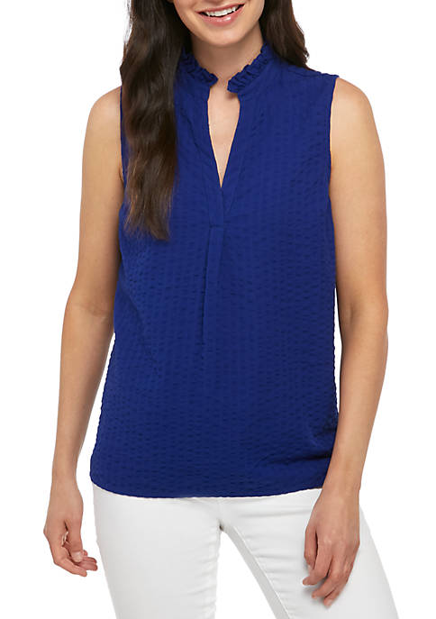 Crown & Ivy™ Sleeveless Ruffle Neck Top