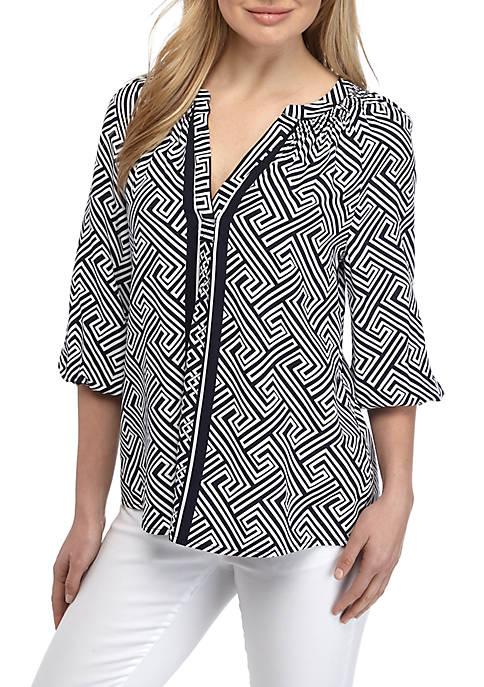 Crown & Ivy™ 3/4 Sleeve Printed Peasant Top