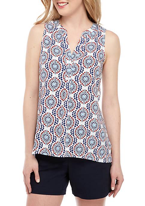 Crown & Ivy™ Sleeveless Split Neck Printed Peasant