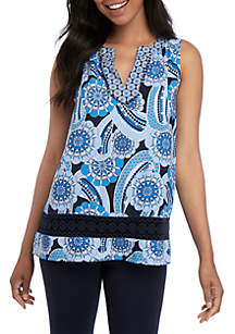 Crown & Ivy™ Sleeveless Trim Peasant Print Top