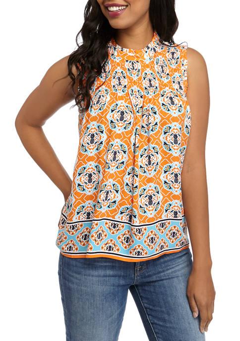 Crown & Ivy™ Womens Sleeveless Smocked Yoke Printed