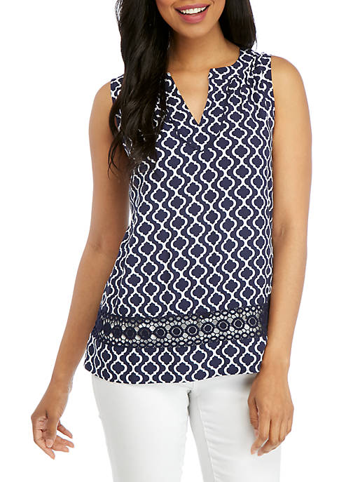 Crown & Ivy™ Double Key Printed Peasant Top