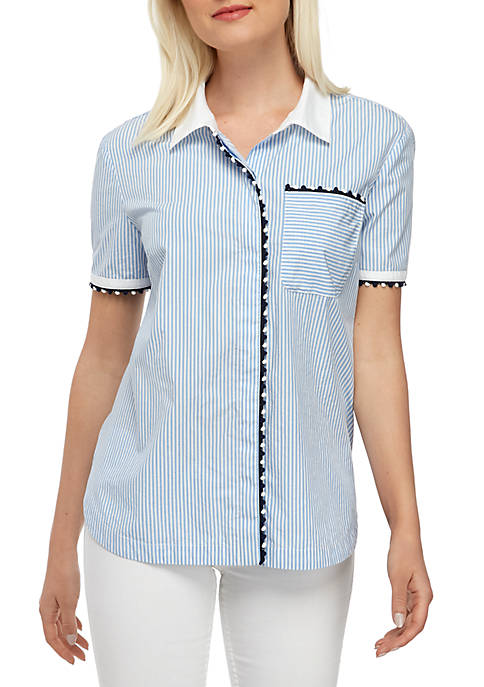Crown & Ivy™ Short Sleeve Stripe Button Up