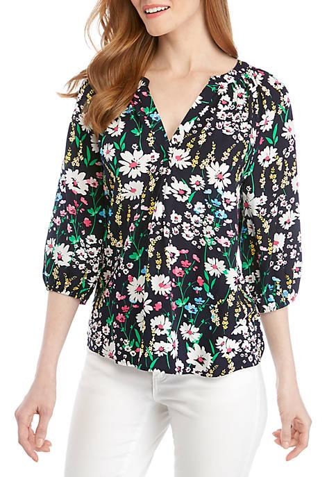 Crown & Ivy™ 3/4 Sleeve Print Peasant Top