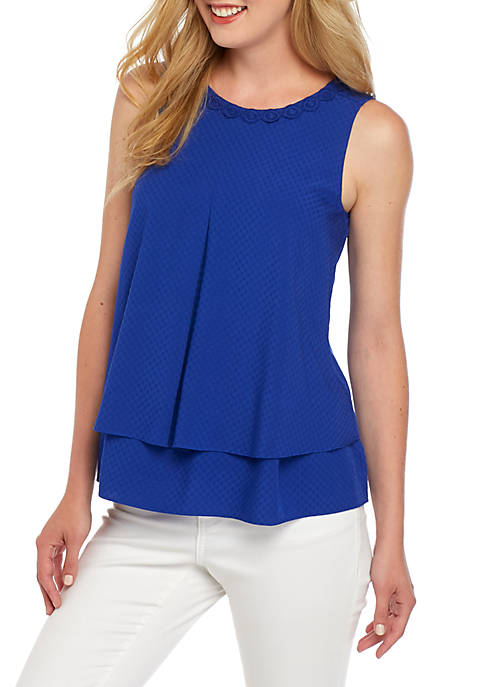 Womens Sleeveless Double Layer Tank