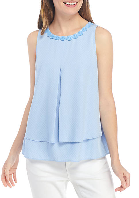 Crown & Ivy™ Womens Sleeveless Double Layer Tank