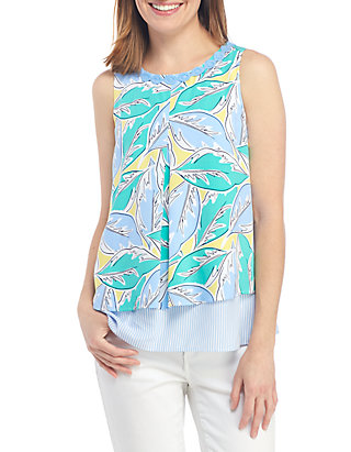 11444b22fcc5a Crown & Ivy™. Crown & Ivy™ Sleeveless Double Layer Printed Tank
