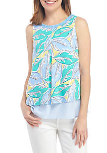 Crown & Ivy™ Sleeveless Double Layer Printed Tank