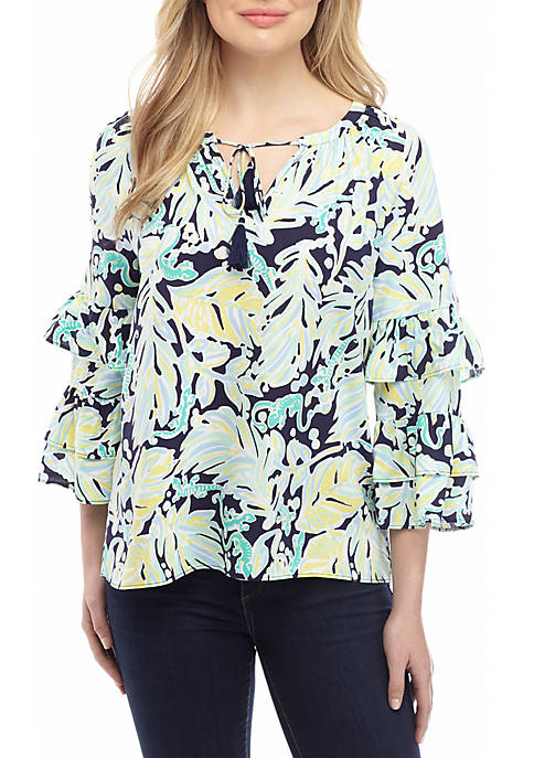 Crown & Ivy™ Womens Ruffle Sleeve Split Neck